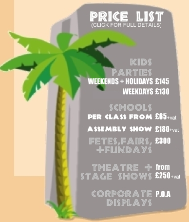 Creepy Crawly Show price list